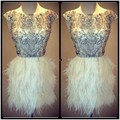 Beautiful Short Feathers Skirt Cocktail Dresses Scalloped Crystal Beading Short Prom Dress 2017 vestido festa curto kleider