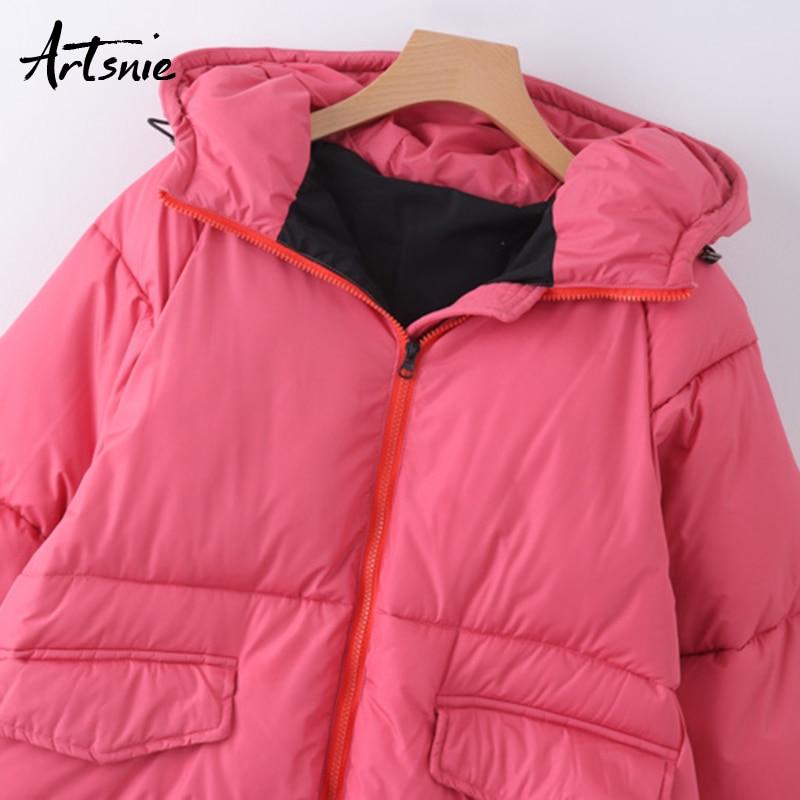 sale retailer bf5d4 bfe5b Artsnie-Rosa-grueso-rojo-Streetwear-Parkas-mujer-oto-o-2018-con-capucha-con-cremallera-doble-bolsillos.jpg