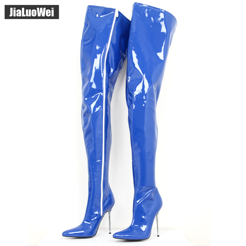 Sexy Fetish Unisex Long Boots Extreme High Heel 12cm Over-The-knee Crotch Boots Shiny/matte Patent PU Leather Thigh high Boots