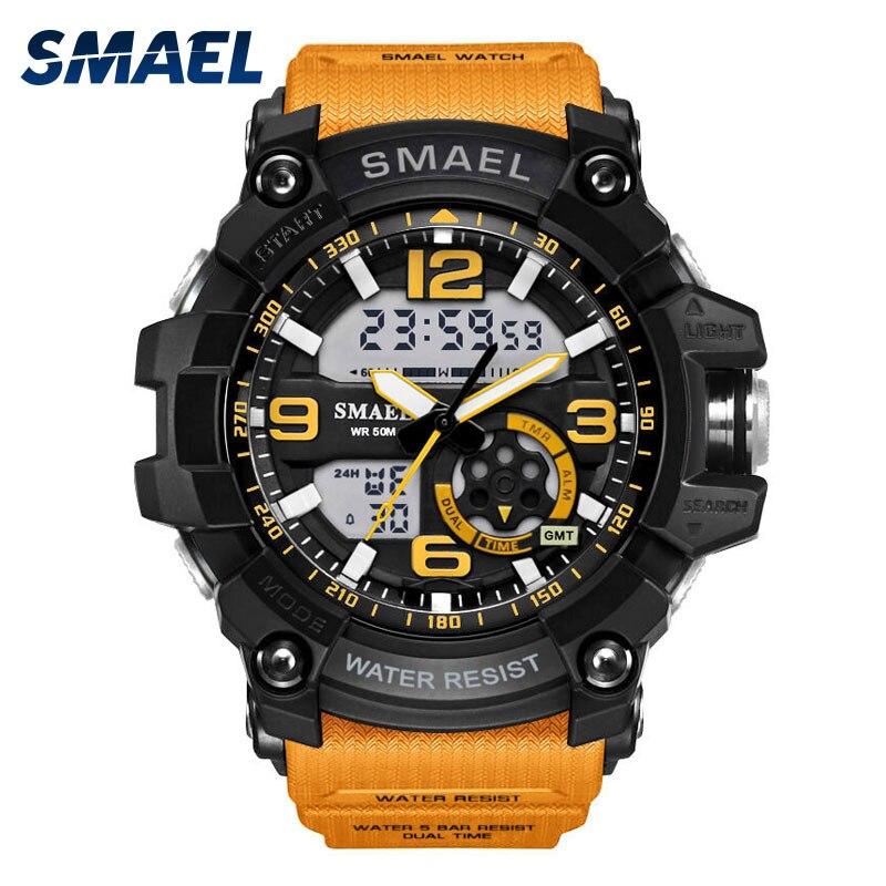 S Choc Militaire Montres Armée Hommes de Montre-Bracelet LED Quartz Montre Digtial Dual Time Hommes Horloge 1617 reloj hombre Sport montre de L'armée