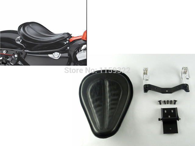 Black Motorcycle Seat Leather Saddle Solo Seat Brackets Springs For Harley Sportster XL 883 1200 Iron 883 2004-2015 Universal