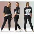 Mujer 2016 Moda Primavera Outono Mulheres Terno Do Esporte Set Fatos de Jogging Suit Patchwork Faixa Tops + Pants Plus Size XXL 3XL 4XL