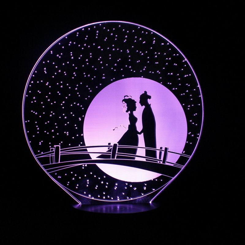 Beautiful 3D LED Creative Romantic Love Lamp LED Night Lights with 7 Colors Table Lamp for Beloved Valentine's Day Gifts 3d led lamp usb night love heart