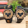 BOBO BIRD LP09 Stainless Steel Watches Montre Homme Vintage Wooden Watch Stopwatch Function Men Wristwatch Can