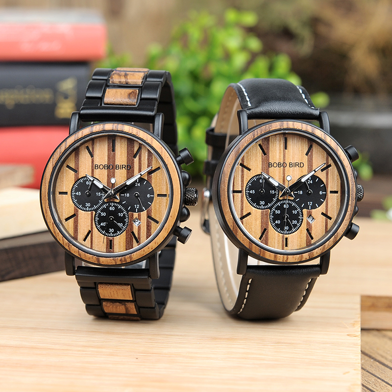 BOBO BIRD L- Stainless Steel Watches Montre Homme Vintage Wooden Watch Stop Watch Function Men Business Wristwatch OEM