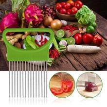 Лукорезка томаты лук овощи режущего держатель для помощи руководство приспособление для нарезки безопасная вилка