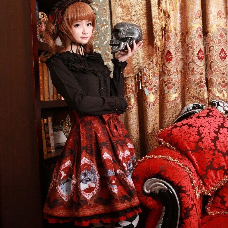 Soie Nouveau Imprimé Dark Japonais Blue Lolita longueur Demi Douce Blue Mousseline sky Red Jupe 2019 De Frais wine U8d1w1