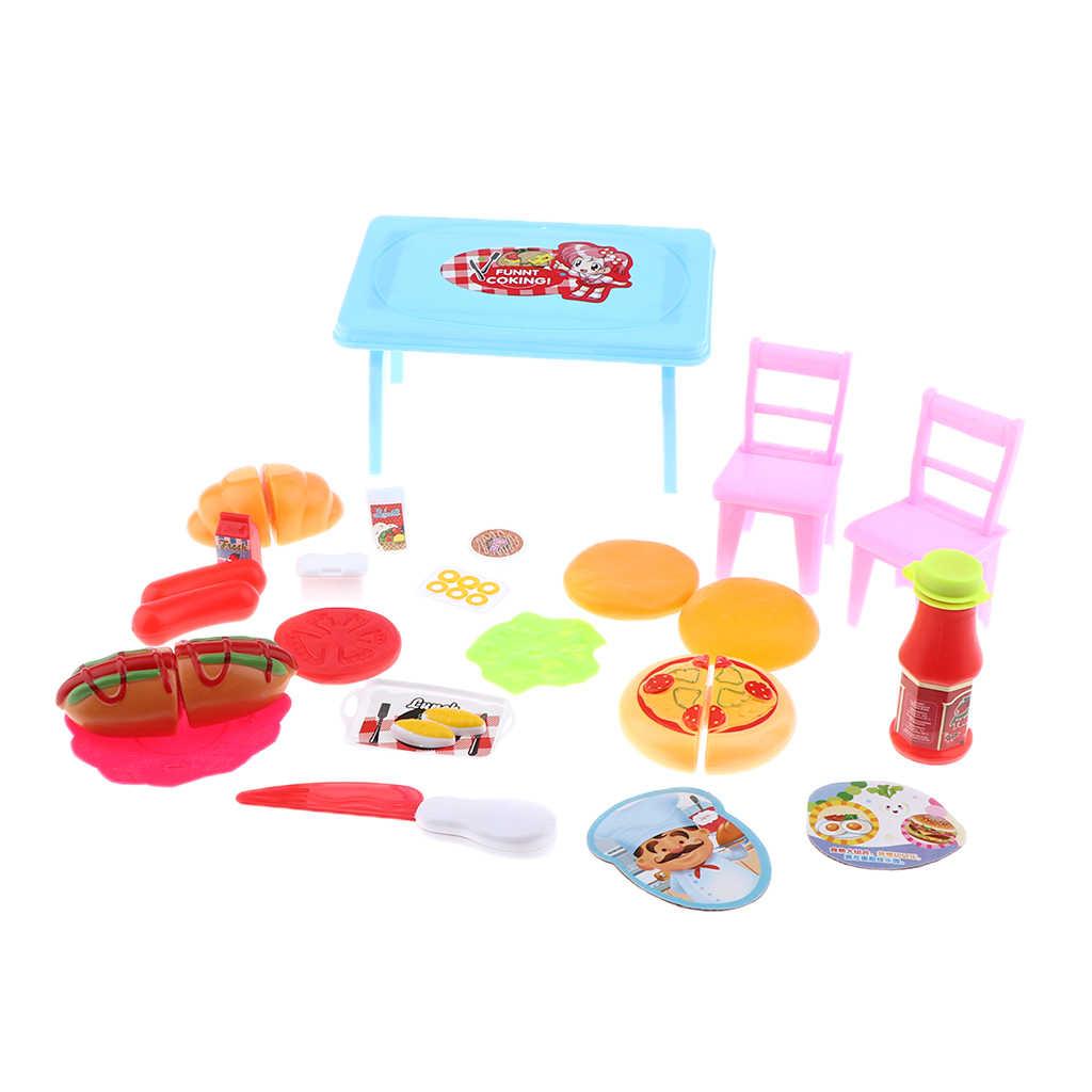 ตุ๊กตาชุดครัวอาหารมินิจำลองตารางเก้าอี้สำหรับตุ๊กตาอุปกรณ์เสริม