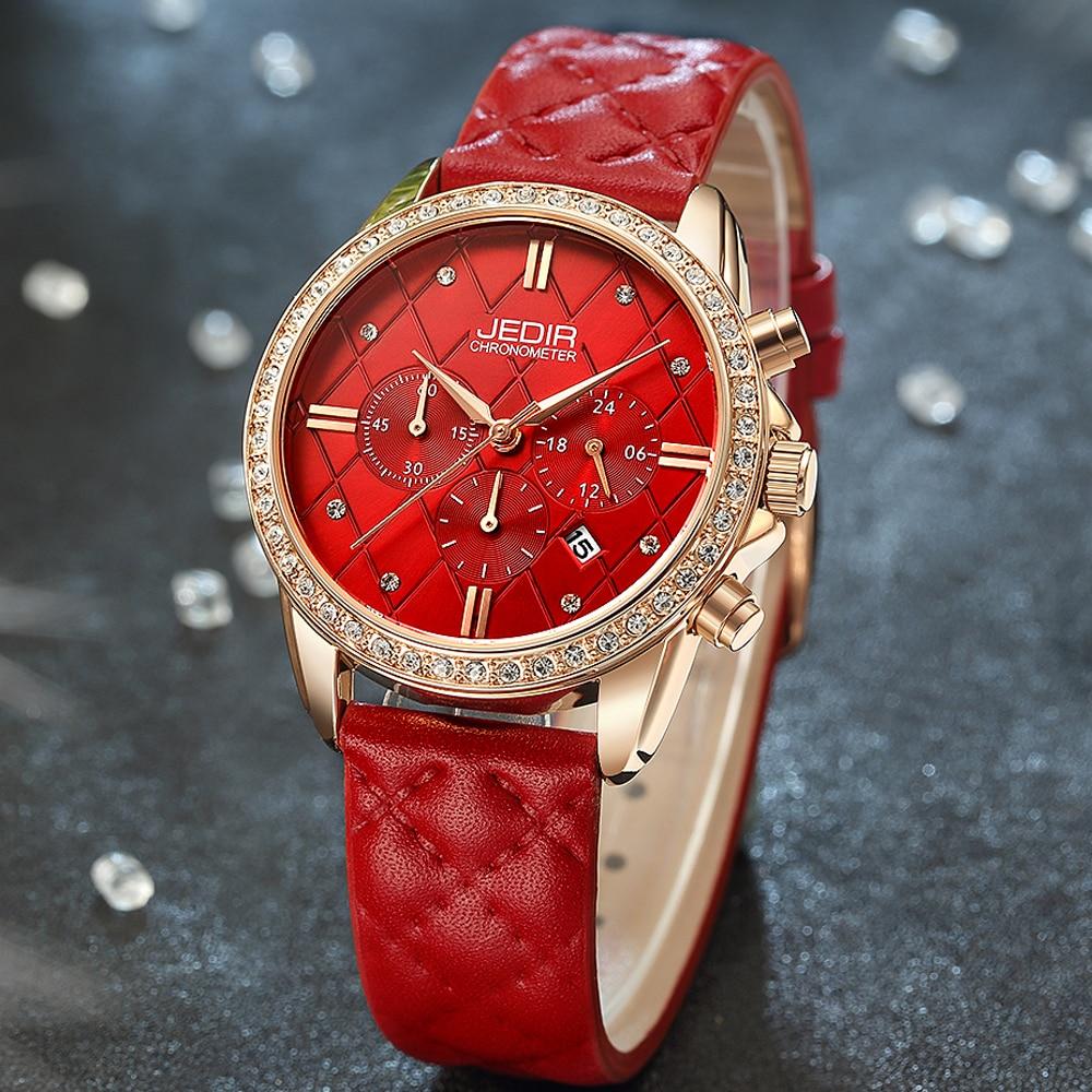 JEDIR Ladies Watches Top Brand Luxury Chronograph Sport Watch Women Red Leather Bracelet Quartz Wristwatches Clocks Montre Femme