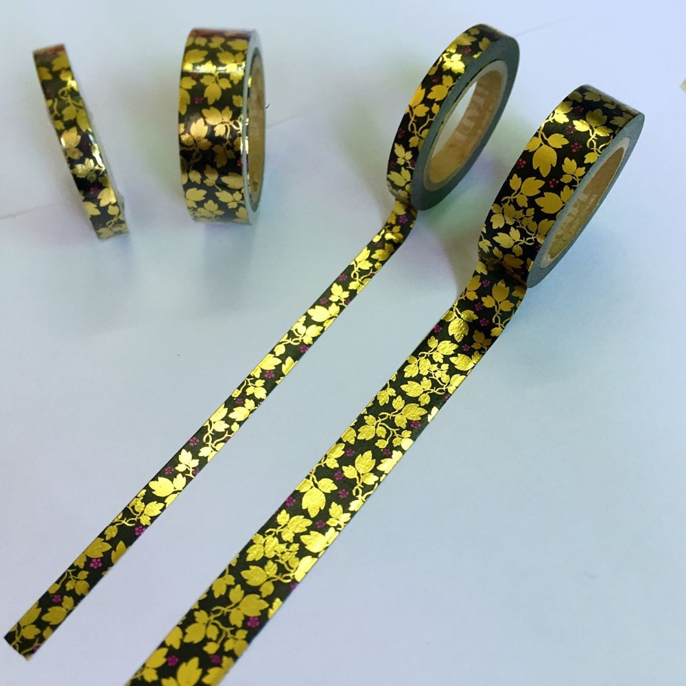 Foil Gold  High Quality  Washi Paper  Tape 7.5mm*10m Or 15mm*10m/ Three Leafs Flower  Masking Washi Paper  Tape