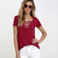 Avodovama M 2017 Women Summer Fashion T Shirt Solid Colors Sexy V Neck Hollow Out Top