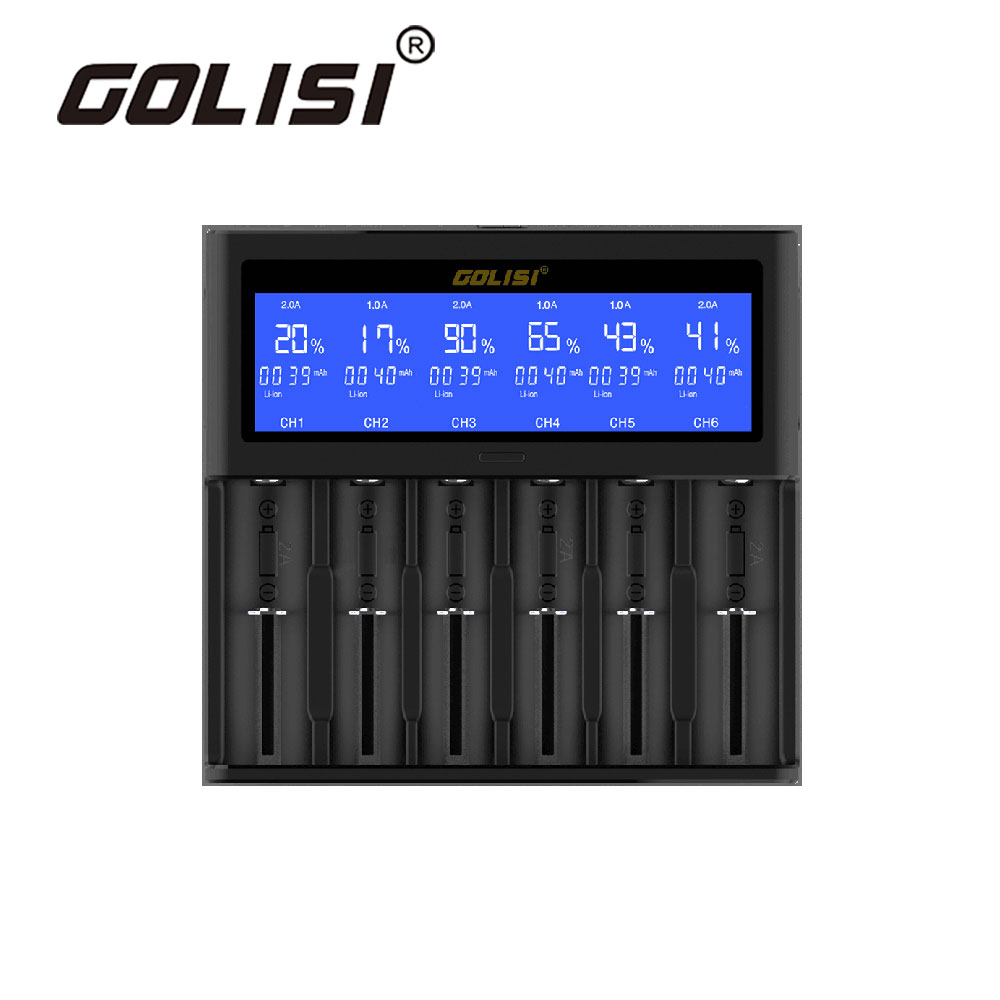 Golisi Quick Smart Charger 6 slot 2A with LCD Screen EURO for 18650 26650 20700 21700