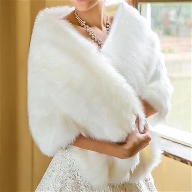 Wraps branco De Noiva Capa Casamento Do Inverno Frete Grátis Pele Do Falso Senhoras Elegantes da Noite Jaquetas de Noiva Xaile Shrug Boleros