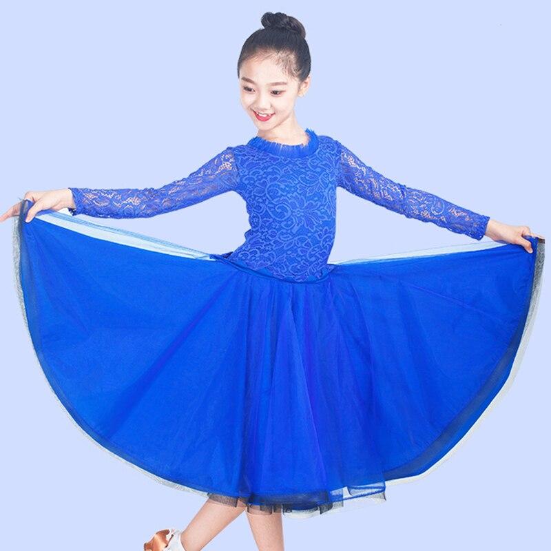 Ballroom Dance Dresses For Girls Lace Milk Fiber Standard Dancing Wear Kids Modern Waltz Salsa Performance Costumes DNV10346