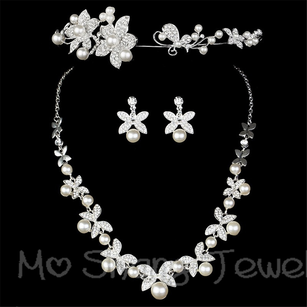 Korea Style Bridal Wedding Jewelry Sets Crystal Rhinestone Imitate Pearl  Butterfly Flowers Tiaras Crown Necklace Earrings