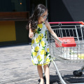 5-14Years Old Children Braces Dress Lemon Pattern Summer Cotton Girls Slip Dress New Baby Girls Fashion Dress