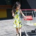 5-14years velho crianças suspensórios vestido lemon pattern verão vestido novo bebê meninas moda vestido de algodão meninas escorregar