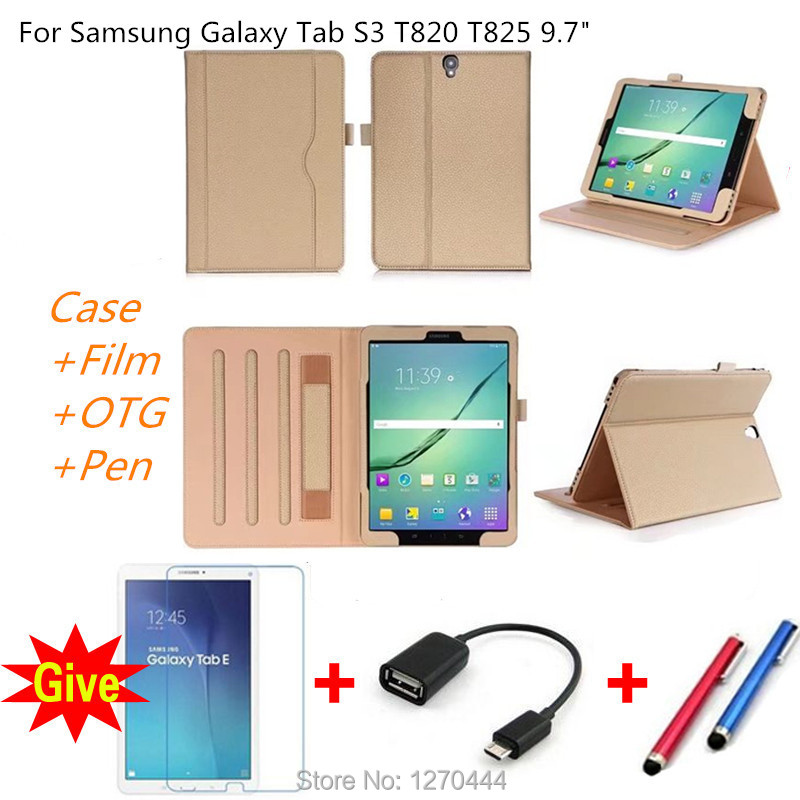 Hand Strap ID card Slots PU Leather stand Smart protective Cover For Samsung Galaxy Tab S3 9.7 T820 SM-T820 T825 tablets cases tab s3 t820 9 7 inch jean leather case cover protective stand skin for samsung galaxy tab s3 9 7 t820 t825 tablet smart fundas