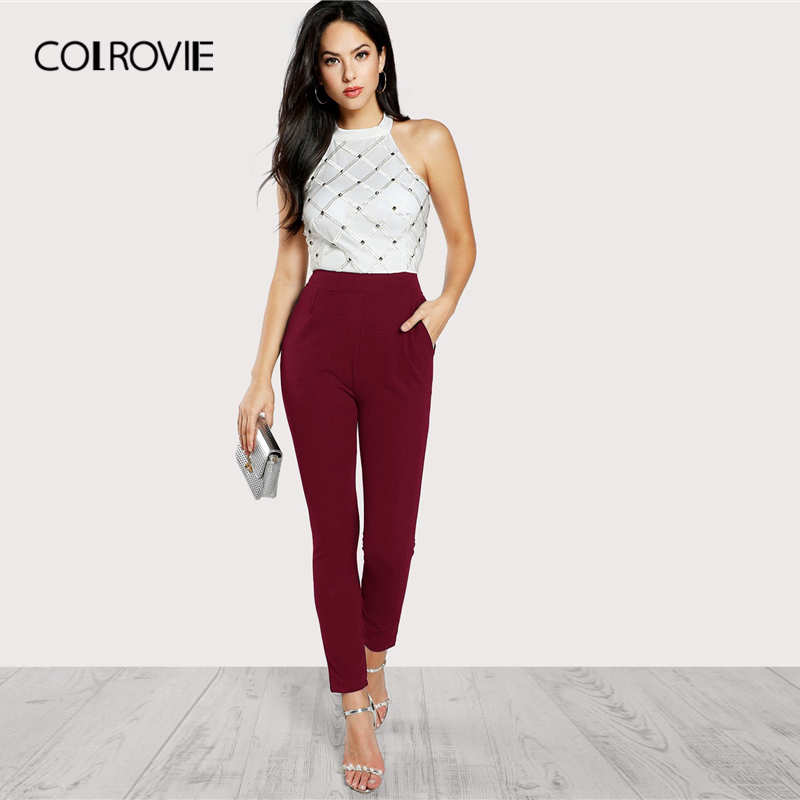 COLROVIE Backless Halter Korean Party Jumpsuit Romper Women 2019 Spring Sleeveless High Waist Combinaison Elegant Jumpsuits
