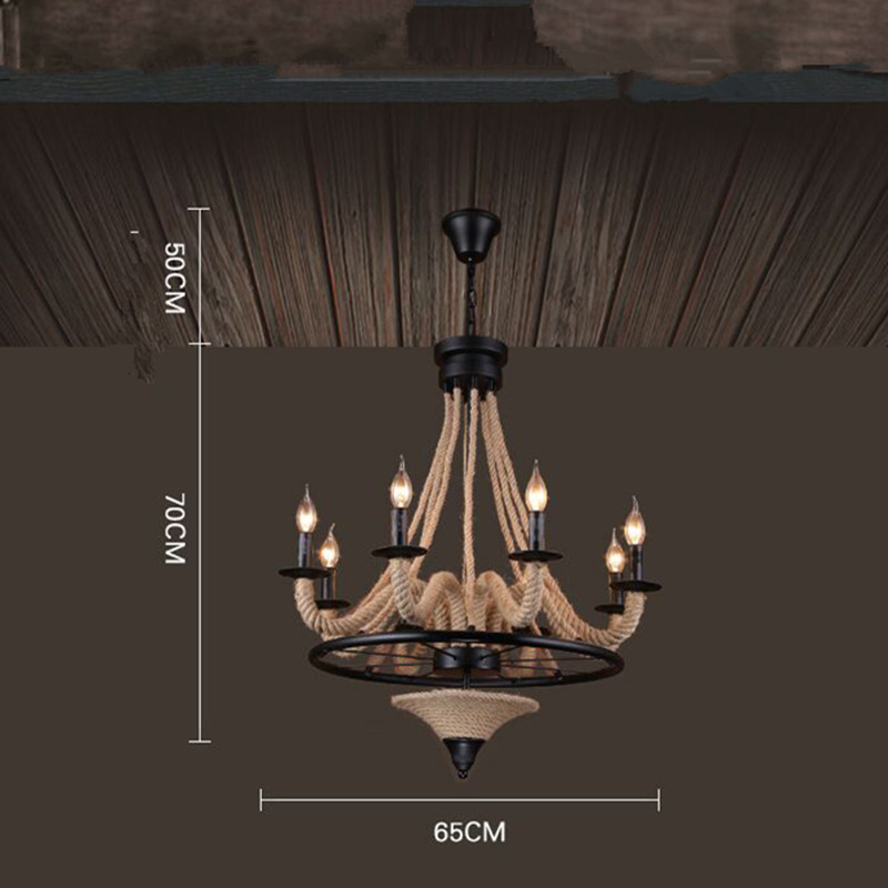 Scandinavian Vintage Iron Industry Personality Twine Lighting Loft