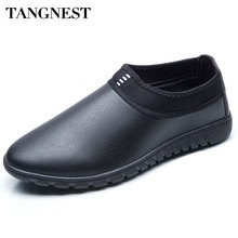 Tangnest Winter New Men Flats Solid Slip-on Men's Shoes Soft Fur Inside Men Pu Leather Loafers Autumn Casual Shoes Man XMR2157