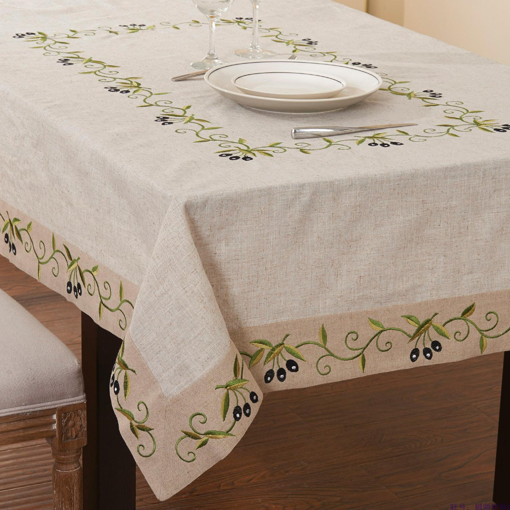 Rectangular Olive Branch Tablelinen ,Extra long table cloth,linen table cover