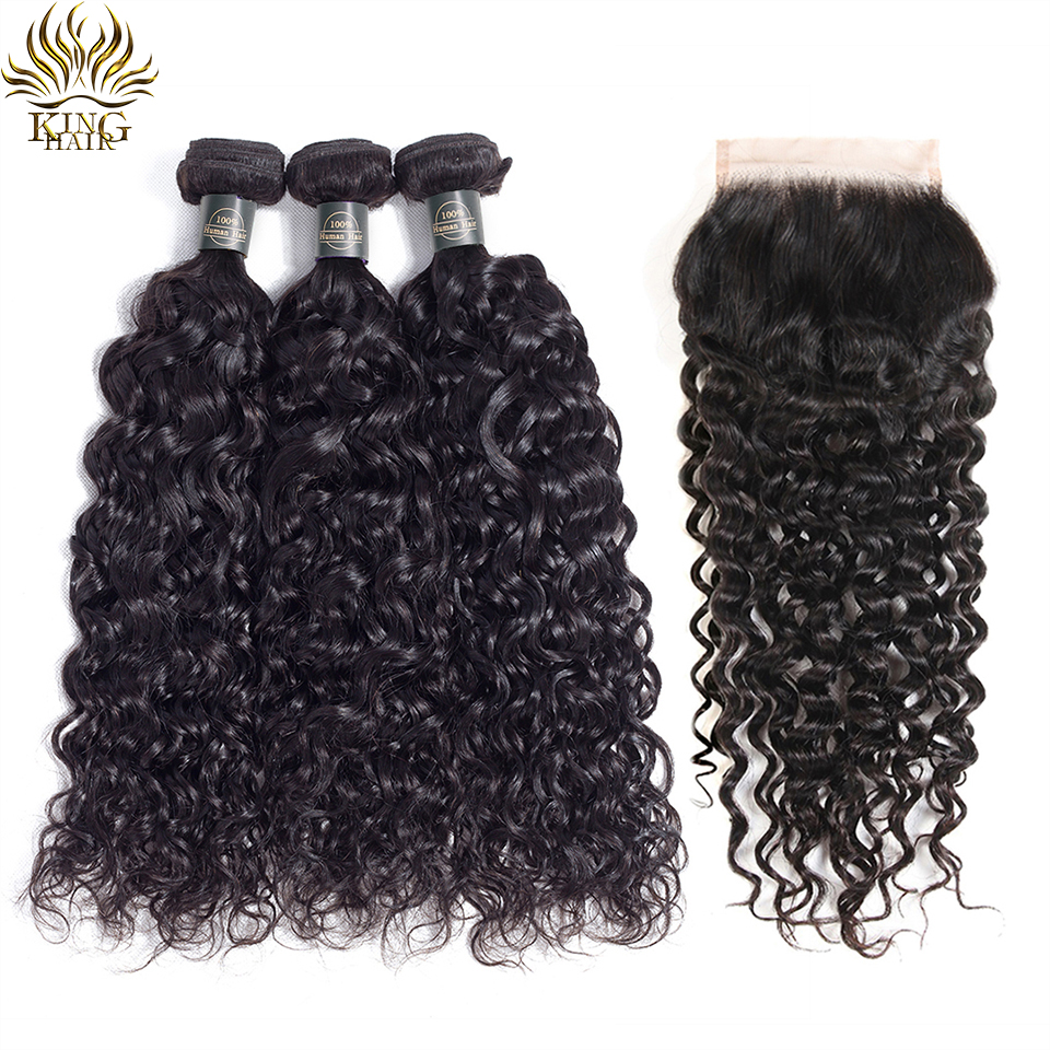 King Hair Water Wave Bundles With Closure Brazilian Hair Weave Bundles With Closure Remy Human Hair