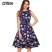 OTEN 2018 Summer New Dresses Women Sleeveless O Neck Polka Dot Flower Print Retro Vintage Skater Rockabilly Knee Length dress