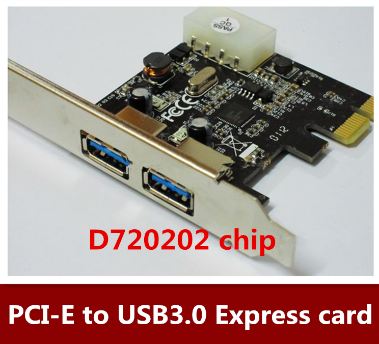 High Quality Desktop PCI-E to USB3.0 expansion card adapter chip third generation of D720202 2port Free shipping