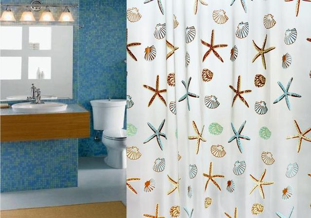 Shell Waterproof Bathroom Shower Curtain Mildew Thick Curtain Shower Curtain  Cloth To Send Off The Hook