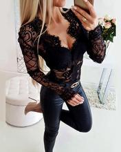 2019 Women Elegant Fashion Sexy Patchwork Slim Fit Basic Playsuit Sheer Eyelash Lace Long Sleeve Bodysuit