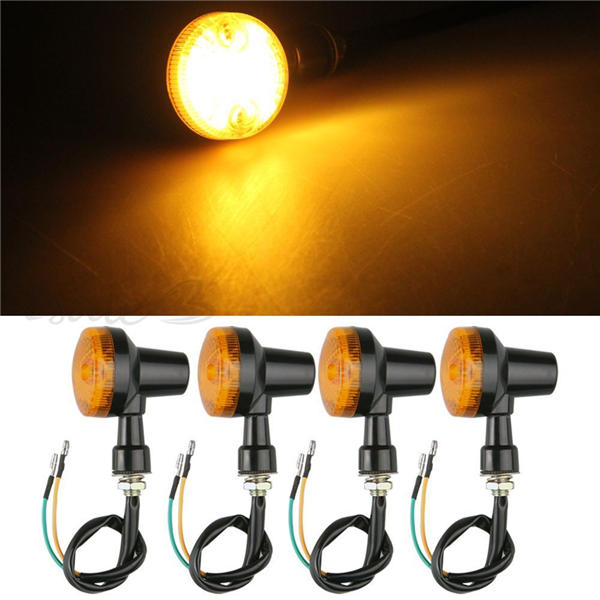 New 2pcs 12V Auto Car Motorcycle Turn Signal Light Direction Indicator Lamp Amber For Chopper Bobber Cafe Racer