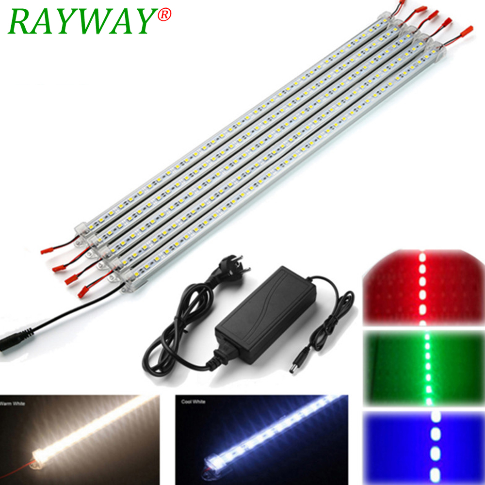 5 stks * 50 cm 5050 smd led stijve strip licht Hard LED bar Lichten + Aluminium Profiel + PC Cover + DC Connector + DC 12 V 5A Voeding