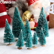 OurWarm 8pcs DIY Christmas Tree 4 Size Sisal Bottle Brush Small Pine Decoration for Home navidad New Year Gift