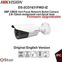 Hikvision Original English CCTV Camera DS-2CD1631FWD-IZ 2.8-12mm Motorized lens 3MP Vari-Focal Bullet outdoor IP Camera POE IP67
