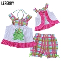 Cute Baby Clothes Girl Clothing Sets Summer Style Sleeveless Little Girls Clothes Set Kids Clothes Plaid  Shorts Inant Clothing