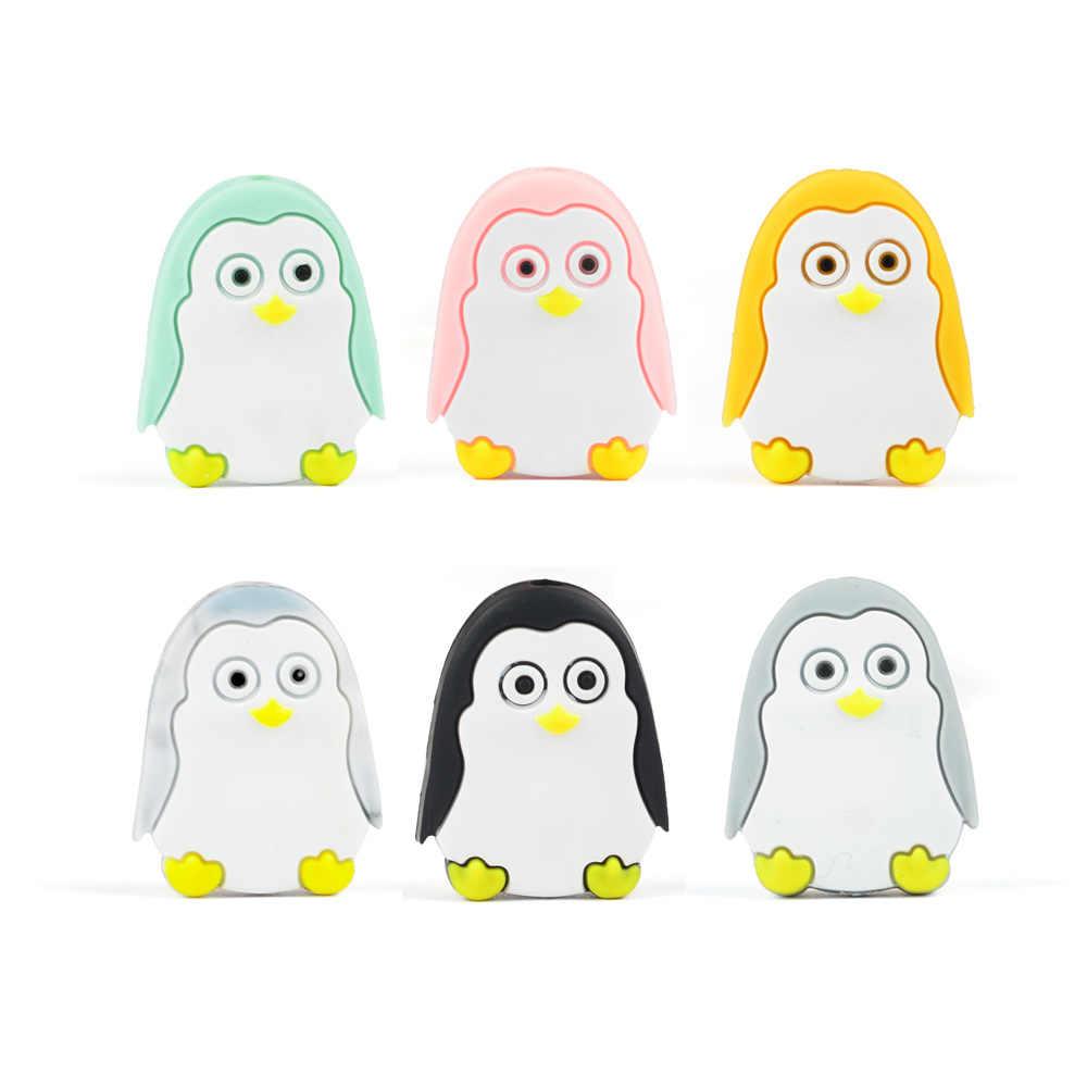 LOFCA мини животных силиконовые бусины пингвин в форме обезьяны бижутерия для прорезывания зубов BPA бесплатная пустышка цепи детский силиконовый Прорезыватель пищевой
