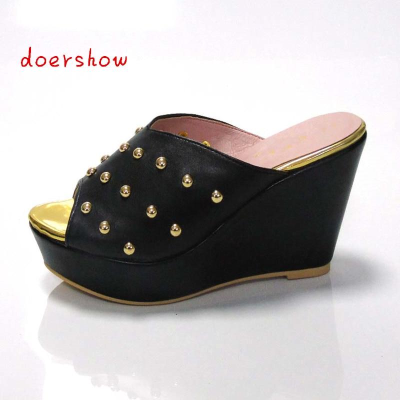 doershow African sandals high quality slipper summer low heels women shoes!!!!   DL1-31 doershow women slipper elegant african women sandals shoe for party african wedding low heels slip on women pumps shoes abs1 5