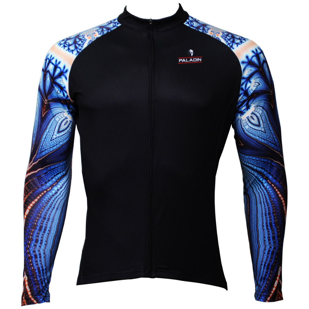 New Blue Parrot Pattern Men Personality Long sleeve Cycling Jersey Bike Clothing Polyester Breathable Cycling Top Size S To XXXL 2016 new men s cycling jerseys top sleeve blue and white waves bicycle shirt white bike top breathable cycling top ilpaladin