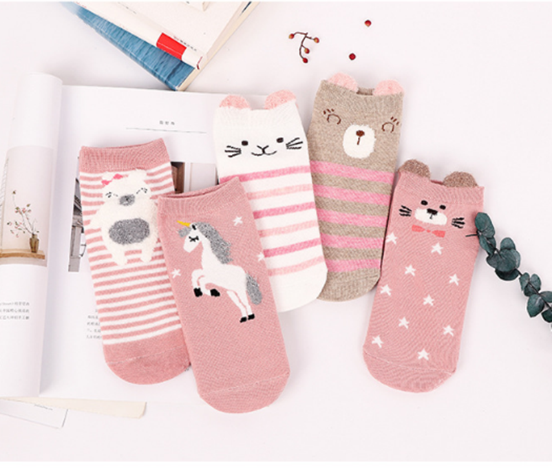 Women's Socks & Hosiery Practical 5 Pairs/lot Cartoon Unicorn Cat Lion Women Socks Cute Animal Ear Cotton Short Socks Girls Funny Ankle Socks Socks