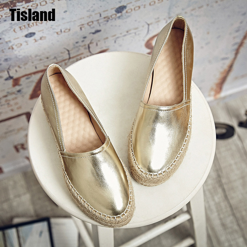 Luxury Women Flats Genuine Leather Shoes Woman Slip On Loafers Creepers Woman Flats Platform Shoe Espadrilles Ladies Silver Gold lanshulan bling glitters slippers 2017 summer flip flops shoes woman creepers platform slip on flats casual wedges gold