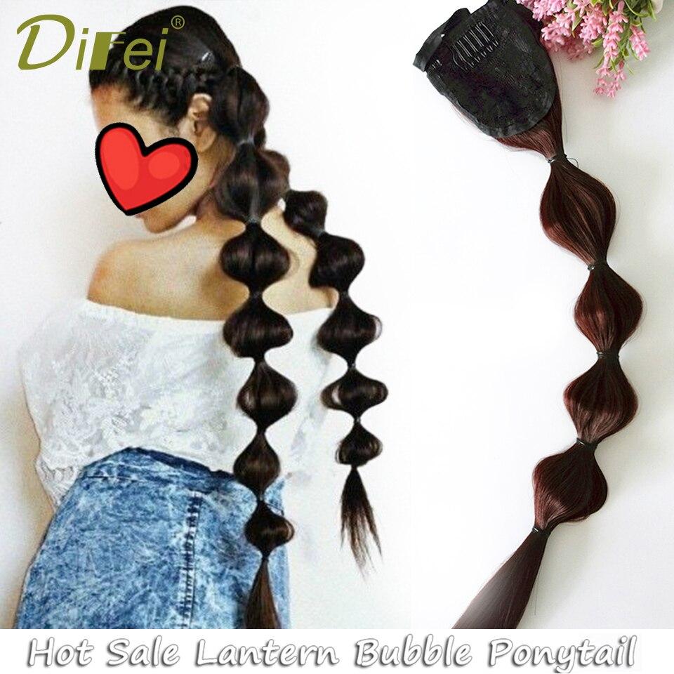 DIFEI Lantern Bubble Fishtail Braids Cute Wig Ponytail for Girls Synthetic Drawstring Black/Brown Fake Hair 5 Size