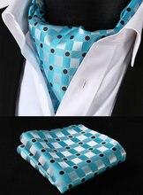 RC304Q Aqua Schwarz Check Silk Halstuch Gewebt Ascot Krawatte Einstecktuch Einstecktuch Suit Set