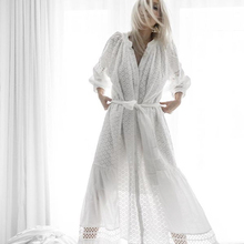 Women Summer Holiday Long Dress Ladies Cotton White Tassel Lace Crochet Hollow Out 2018 Sexy Beach