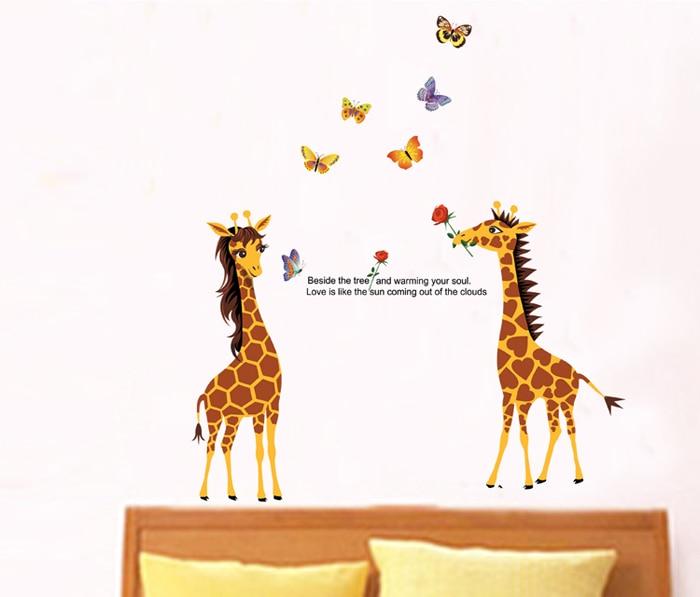 Giraffe Quotes: Butterfly Giraffe Couple Vinyl Wall Stickers Home Decor 90