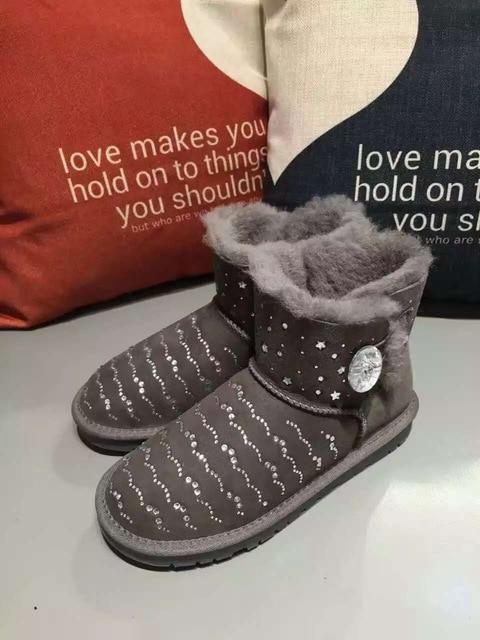 Swarovski crystal buckle Sheepskin Fur leather MINI short women shoes women  boots 2017 with rhinestones winter boots lady boot 21252b9f5555