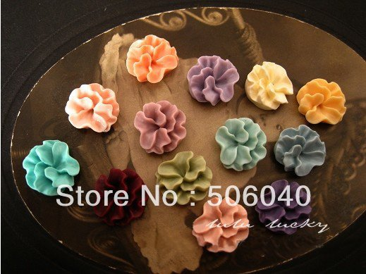 16 mm vintage style flat back beautiful flower resin cabochons  jewelry decoration accessories 100PCS/LOT