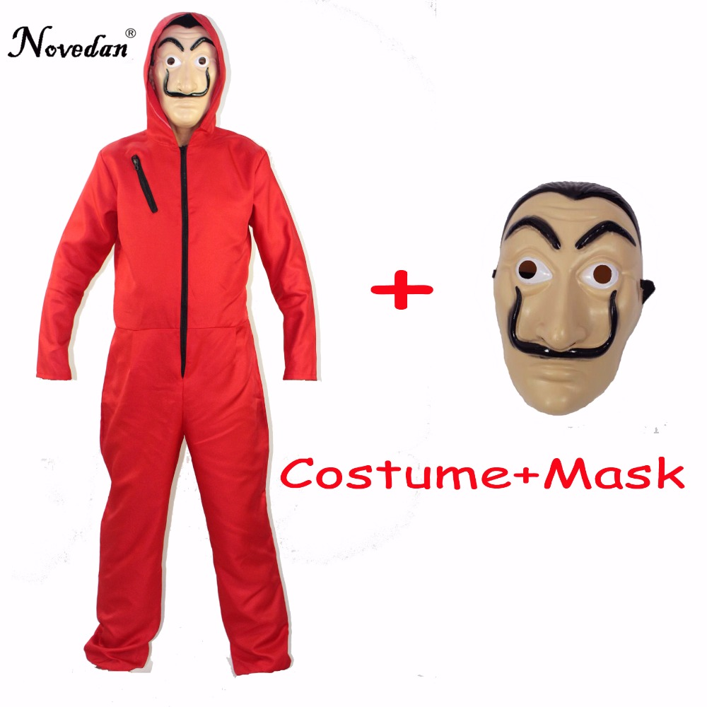 Salvador Dali Cosplay Movie Mask Money Heist The House Of Paper La Casa De Papel Cosplay Costume + Face Mask Free Shipping