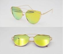 Free Shipping New Cat Eye Sunglasses Women Vintage Fashion Mirrored Sunglasses Unique Flat Ladies Sunglasses WBOL001