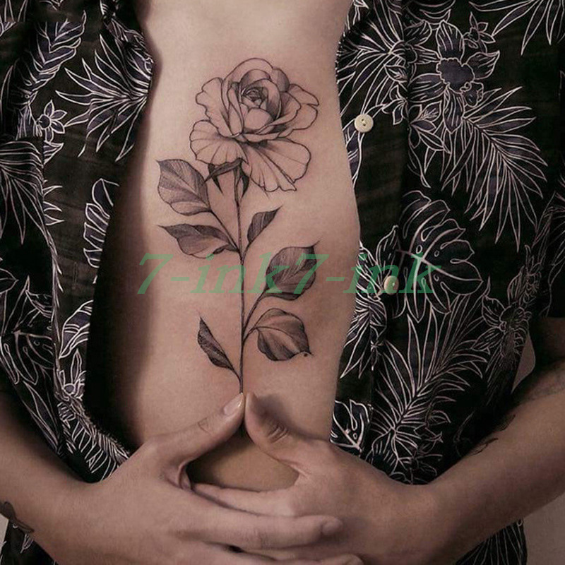 Waterproof Temporary Tattoo Sticker Black Gray Rose Flower Body Art Water Transfer Fake Tatto Flash Tattoo For Girl  Woman Man